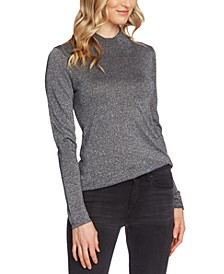 Metallic Mock-Neck Sweater