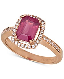 Certified Ruby (1-1/2 ct. t.w.) & White Sapphire (1/5 ct.t .w.) Halo Ring in 14k Rose Gold (Also in Emerald & Sapphire)