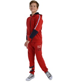 Tommy Hilfiger Big Boys Vinny Pieced Colorblocked Hoodie & Kent Logo-Print Fleece Sweatpants