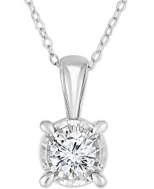 """TruMiracle® Diamond Solitaire 18"""" Pendant Necklace (3/4 ct. t.w.) in 14k White Gold"""