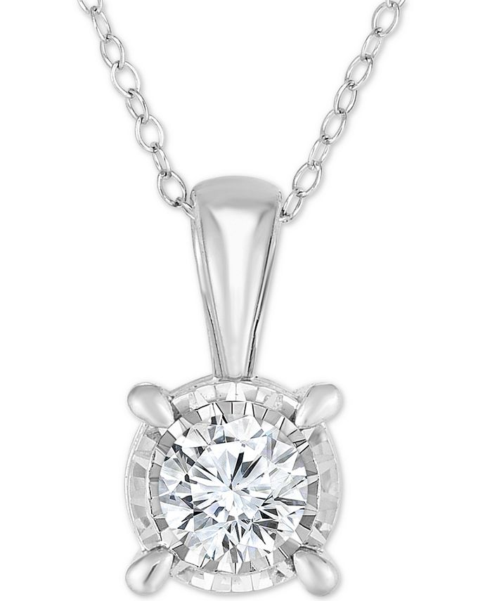 """TruMiracle - Diamond Solitaire 18"""" Pendant Necklace (3/4 ct. t.w.) in 14k White Gold"""