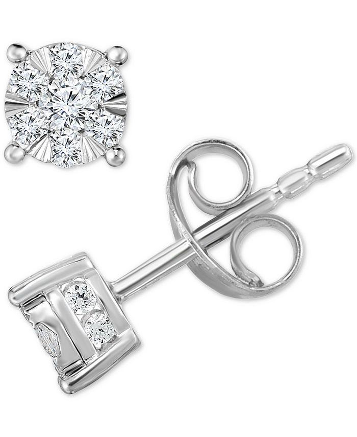 TruMiracle - Diamond Stud Earrings in 14k White Gold