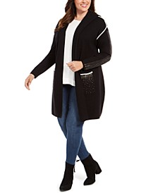 Plus Size Embellished Hooded Cardigan