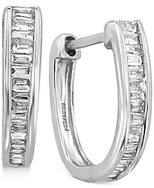 EFFY® Diamond Baguette Hoop Earrings (1/2 ct. t.w.) in 14k White Gold