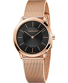 Women's Minimal Pink Gold-Tone PVD Stainless Steel Mesh Bracelet Watch 35mm