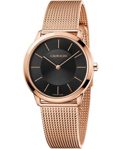 Calvin Klein Women's Minimal Pink Gold-Tone PVD Stainless Steel Mesh Bracelet Watch 35mm