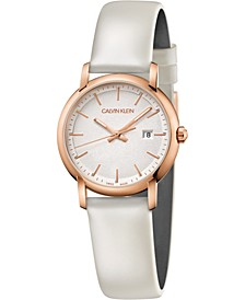 Women's Established White Leather Strap Watch 32mm