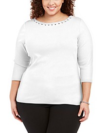 Plus Size Laced Grommet-Trim Cotton Top, Created for Macy's