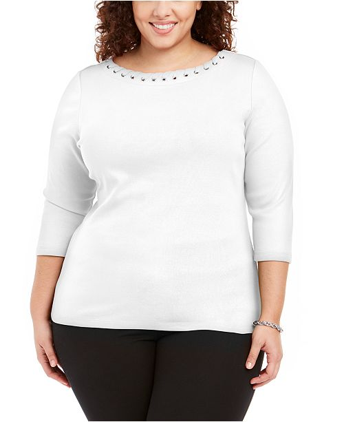 Karen Scott Plus Size Laced Grommet-Trim Cotton Top, Created for Macy's