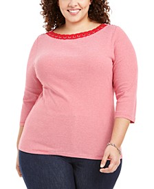 Plus Size Grommet-Trim Striped Cotton Top, Created For Macy's