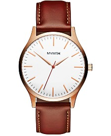 MVMT Men's The 40 Tan Leather Strap Watch 40mm