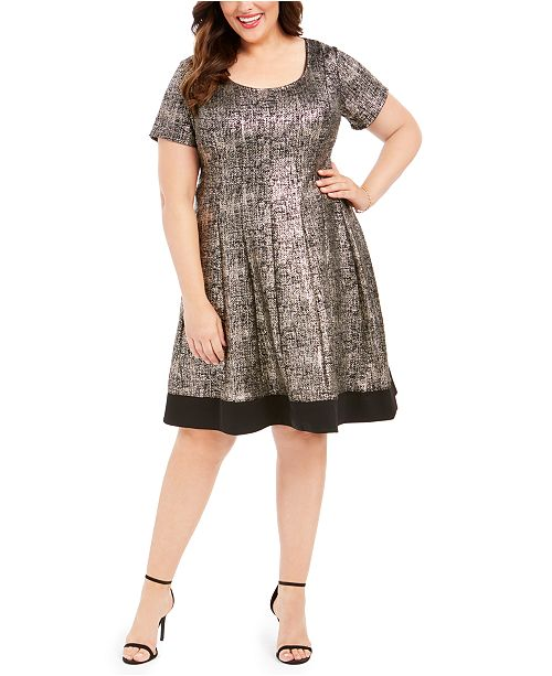 Robbie Bee Plus Size Metallic-Print A-Line Dress