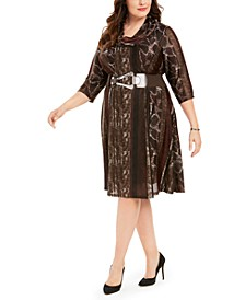 Plus Size Belted Animal-Print Sweater Dress