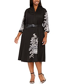 Plus Size Belted Floral-Print A-Line Dress