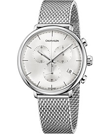 Unisex Chronograph High Noon Stainless Steel Mesh Bracelet Watch 43mm