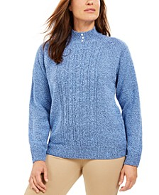 Petite Marled Cable-Knit Sweater, Created for Macy's