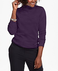 Studded Mock-Neck Sweater, Created for Macy's