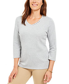 Karen Scott Grommet-Neck Cotton Top, Created For Macy's