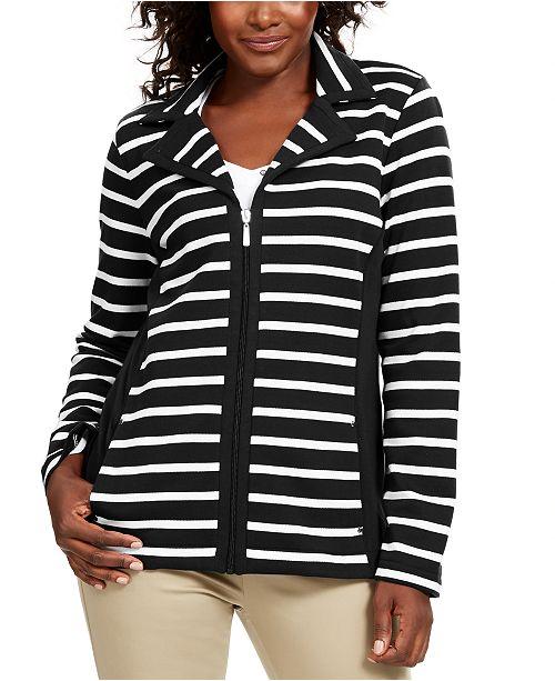 Karen Scott Petite Striped Zip-Up Jacket, Created For Macy's