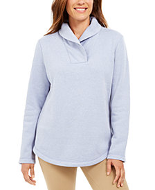Karen Scott Sport Shawl-Collar Fleece Pullover, Created for Macy's