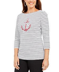 Karen Scott Studded Anchor Top, Created For Macy's