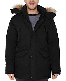 Men's Big & Tall Hooded Parka with Faux Fur Trim