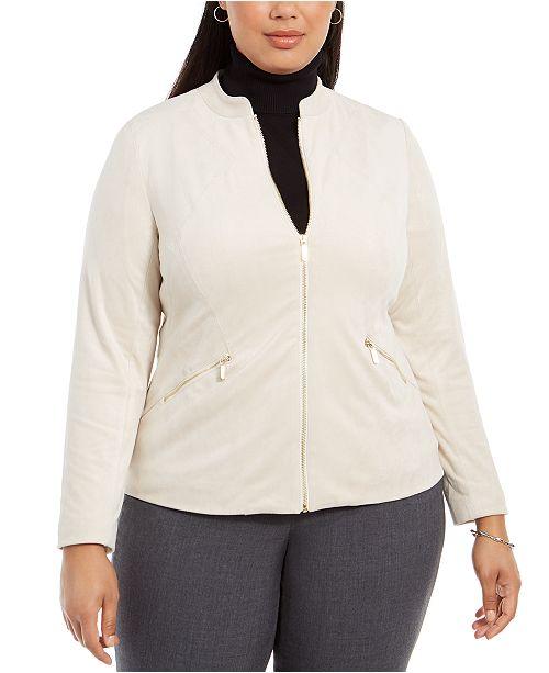 Alfani Plus Size Faux-Suede Zip Jacket, Created For Macy's
