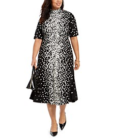 Plus Size Dot-Print Tie-Neck Dress, Created for Macy's
