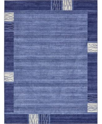 Lyon Lyo1 Navy Blue 8' x 8' Square Area Rug
