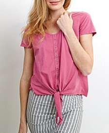 Womens Cotton Short-Sleeve Eyelet Tie Front Tee