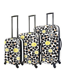 Rekko Art Flower Hardside Spinner 3-Pc. Luggage Set