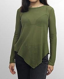 Womens Cotton Mesh Asymmetric Hem Long Sleeve