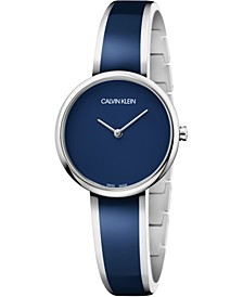 Women's Seduce Stainless Steel & Navy Blue Resin Bangle Bracelet Watch 30mm