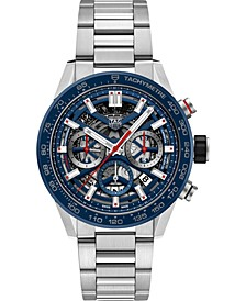 Men's Swiss Automatic Chronograph Carrera Stainless Steel Bracelet Watch 43mm