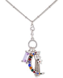 """GUESS Crystal Moon Charm Pendant Necklace, 18"""" + 2"""" extender"""