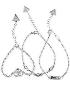 3-Pc. Set Crystal Quatro-G Heart Chain Bracelets
