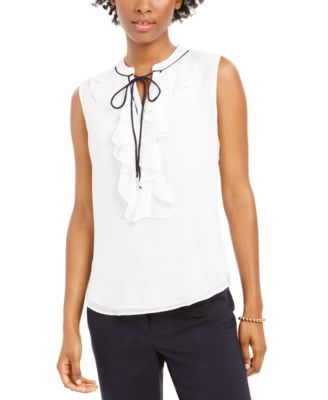 Ruffle-Front Woven Top