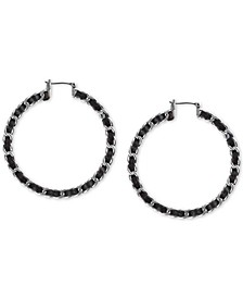 Small Silver-Tone Leather-Wrapped Hoop Earrings 4/5""