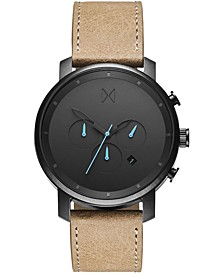 Men's Chrono Sandstone Leather Strap Watch 45mm