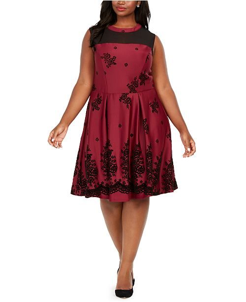 Love Squared Trendy Plus Size Flocked-Velvet Fit & Flare Dress