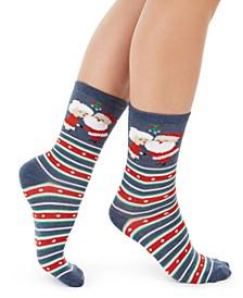 Women's Mr. & Mrs. Claus Crew Socks, Created For Macy's