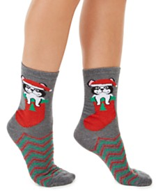 Charter Club Women's Frenchie Dog Stocking Crew Socks, Created For Macy's