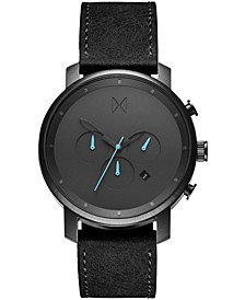 Men's Chrono Black Leather Strap Watch 45mm