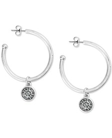 Medium Two-Tone Hematite-Pavé Reversible Charm Hoop Earrings 1-3/4""