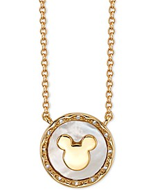 "Mickey Mouse Mother-of-Pearl Pendant Necklace in Gold-Tone, 16"" + 2"" extender"
