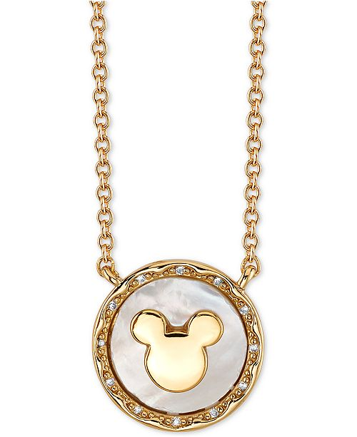 """Disney Mickey Mouse Mother-of-Pearl Pendant Necklace in Gold-Tone, 16"""" + 2"""" extender"""