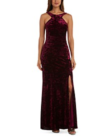 Juniors' Velvet Halter-Neck Gown