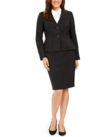 Le Suit Pleated-Hem Shine Skirt Suit