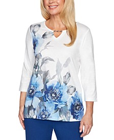 Sapphire Skies Asymmetric Floral Shimmer Top