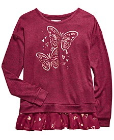 Big Girls Butterfly-Print Layered-Look Top, Created For Macy's